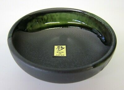 Oriental Japanese Black Green Shallow Bowl Dish