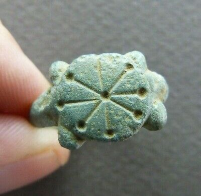 Genuine Merovingian Religious Bronze Seal Ring with Cross - ca.7th C.