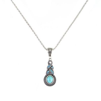 Womens Retro Tibetan Silver Blue Turquoise Chain Crystal Pendant Necklace Gift