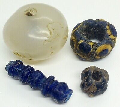 Large Bead Agate / Glass  4pc. 500-100BC. Roman / Bosporus / Scythian