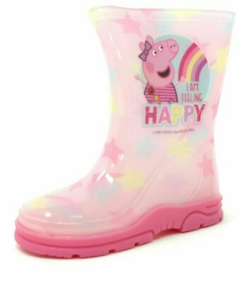 Childrens Kids Girls Pink Peppa Pig Wellies Wellington Rain Snow Boots Size 5-10