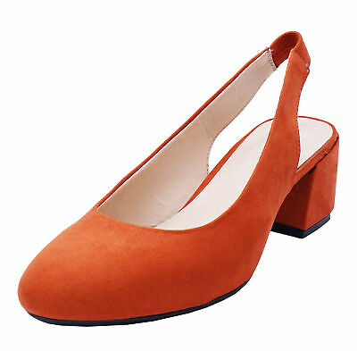 Womens Extra Wide Fit Eee Orange Court Slingback Comfy Work Shoes Sizes 4-10