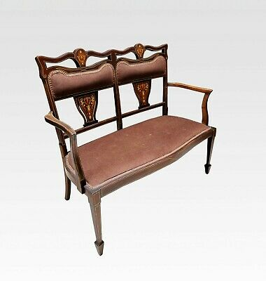 Late Victorian Mahogany Inlaid Settee