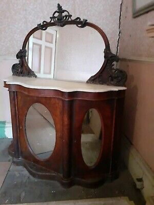 Large Victorian Antique wash stand with marble top and large mirror.