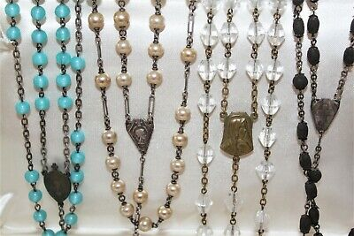 Lot of 4 ANTIQUE / Vintage Glass Crystal Pearl & Seed Bead ROSARIES # 1