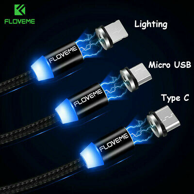 FLOVEME Magnetic LED Linghtning/Micro USB/Type C Cable Braided Charger Adapter