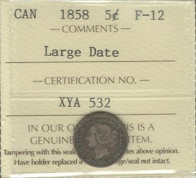 1858 LARGE DATE Five Cents Silver ICCS F-12 RARE Variety KEY Victoria Canada 5¢
