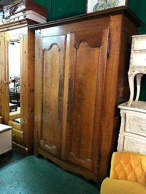 Solid Wood French Armoire, Antique Wardrobe In Need of Some TLC