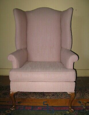 Vintage Antique Chippendale Style Claw Foot Wing Chair