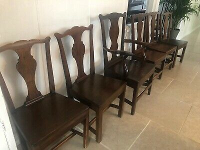 Set of 6 antique solid oak dining chairs.