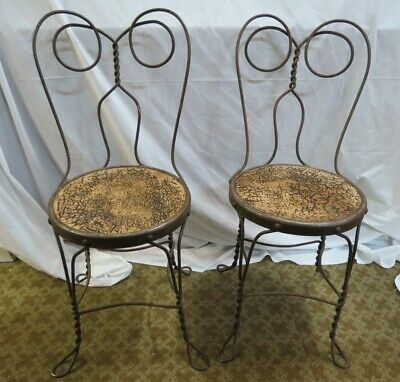 Set of 2 Vintage Ice Cream Parlor Chairs Wrought Iron Twisted Heart Back Chippy
