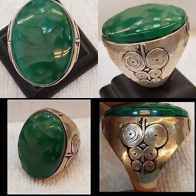 Huge Old Silver Ring With Wonderful Green Ancient Agate Stone Bird Intaglio  #5A