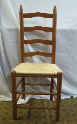 Vintage French Country Ladder Back Rush Seat Chair - Nice!! A