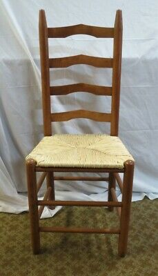 Vintage French Country Ladder Back Rush Seat Chair - Nice!! B