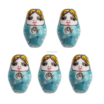 10PCS Blue 22x13mm Ceramic Nesting Doll DIY Loose Spacer Beads Jewelry Finding B