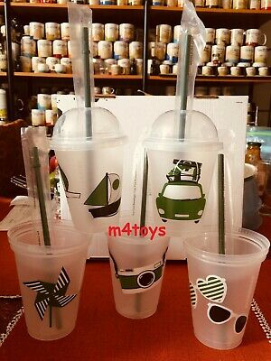 STARBUCKS Plastic Reusable COLD CUPS GRANDE - set of 5 - dome lids, green straws