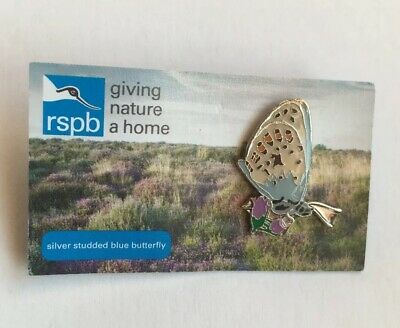 RSPB- (GNAH) SILVER STUDDED BLUE BUTTERFLY  Pin Badge.