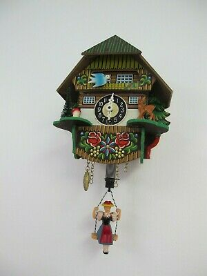 Germany Cuckoo Clock Wind Up With Key Painted Wood Chalet  Swing