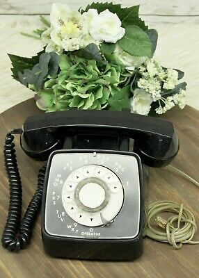 Vintage 1970's GTE Automatic Electric Rotary Dial Telephone Black Model 80E Rare