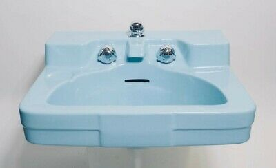 Crane Drexel Wall Mounted Bathroom Sink (Sky Blue) by Designer Henry Dreyfuss