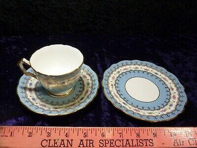 1939 AYNSLEY Tea CUP Saucer Plate TRIO set Footed Turquoise Blue ROSES Gold 2419