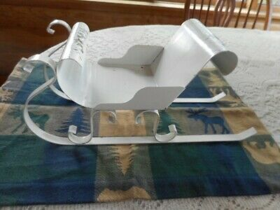 "Vtg White Metal Sleigh 13""x 6"" Primitive/Country/Farmhouse Décor - Chippy Paint"