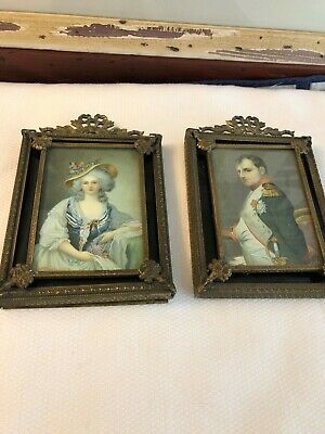 Vintage Pair Of Small Hanging Frames, Very Old, Ornate Gold