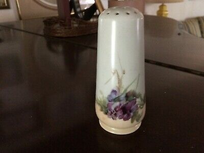 Antique Limoges Hand Painted Porcelain Muffineer Sugar Shaker Pansies RARE