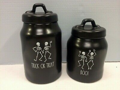 New Rae Dunn Black TRICK OR TREAT BOO Skeleton Halloween Canisters By Magenta