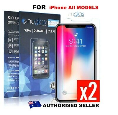 2 x Nuglas Tempered Glass Screen Protector For iPhone XS Max X 8 7 6 5 4 6S Plus