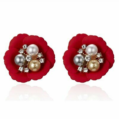 Charm Boho Painting Flower Pearl Painting Stud Earring Women Wedding Jewely Hot