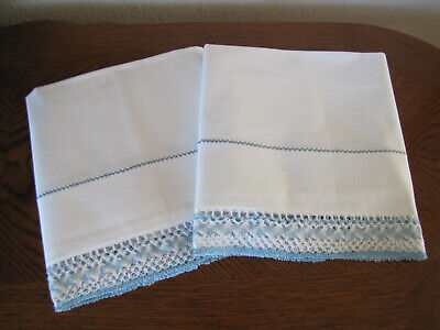 Vintage Pair Of White Pillowcases Embroidered & Crocheted Blue White Crocheted