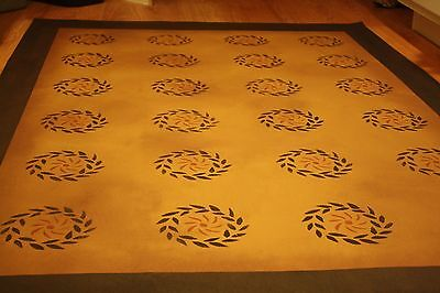 "Floorcloth 4'X6', ""MINUET"", Beautiful Hand Painted Primitive Colonial Area Rug"