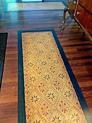 """Floorcloth 30""""X6' """"CONCERTO"""" Beautiful Hand-Painted Primitive Colonial Runner"""