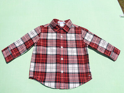 janie and jack baby boys christmas plaid shirt size 12-18 months