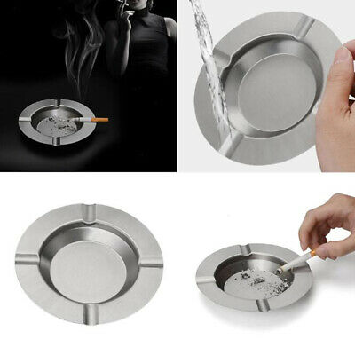 Round Stainless Steel Cigarette Lidded Ashtray Silver Portable Simple Ashtray