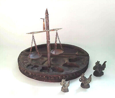 Indonesia Opium Antique Wooden Scale w/ 3 Original Weights