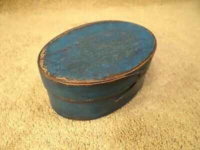 Early 19th Century Old Small Painted Blue Color Pantry Box Antique