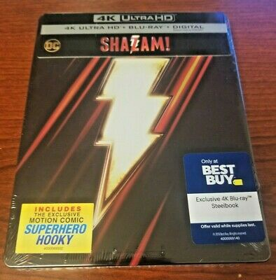 Shazam Steelbook 4K UHD/Blu-ray/Digital New!!