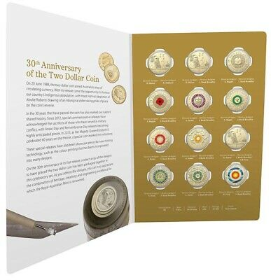 2018 30th Anniversary of the Two Dollar $2 Coin 12 x Coloured Coin Set in Folder
