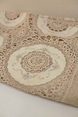 Stunning Vintage Cream Lace Crochet Tablecloth, 240mm x 280mm - Great Condition!