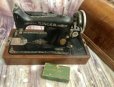 Vintage Antique Singer Sewing Machine With Wooden Carrying Case 1936 Model 99 AE