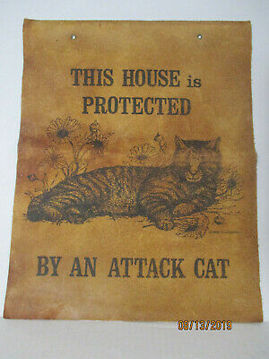 1978 Carol Lebeaux Silk Screen Print Leather This House Protected By Attack Cat