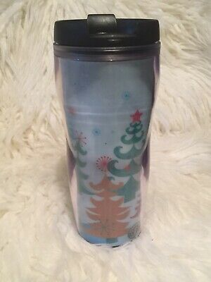 Starbucks 2006 Christmas Hologram Travel Tumbler Blue Multicolor 16 oz Twist Lid