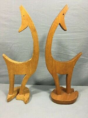 SET of (2) Vintage MCM Wooden Hand Carved Howling Coyote Figure Statue Pair