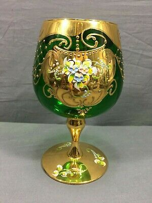 Moser Czech Hand Painted Floral Green Gold Large Goblet Wine Stem Glass Bohemian