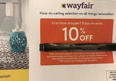 Wayfair Coupon 10% off First Time Shopper Only Expires 10/15/19