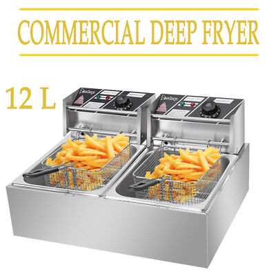 20L Commercial Deep Fryer Stainless Steel Electric Fryer 2 Tank Frying 12L Oil