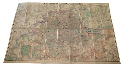 Davies's Map of London and its Environs, 1910, boxed