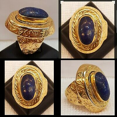Wonderful 18k Gold Old Rare  Ring Vintage Beautiful With Lapis lazuli Stone